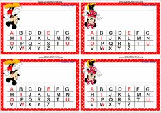 Crachás para Mesa Mickey e Minnie com Alfabeto Mickey E Minie, Classroom, Motivation, Education, Day Care Activities, Name Badge Template, Printable Tags, Note Cards, School
