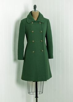 Coat, Siari Originals: 1960's, American, satin-lined wool and Goldwn-brass buttons, double-breasted military side-pockets back-belt.