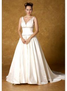 Latest Wedding Dresses | Wedding Dresses 2014 | A-line Spaghetti Straps V-neck Beading Sweep Train Satin Wedding Dresses WE3928