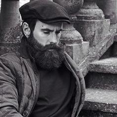 Ricki Hall - full thick dark beard beards bearded man men mustache fall winter fashion mens' style clothes hat