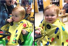 His big smile, chubby cheeks, and ginger locks won us over right from the start! Boy's First Haircut at Junior Cuts (kids hair salon) in Milford, OH (Cincinnati)