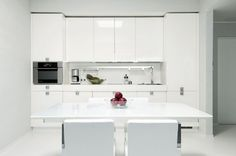 Top Apartment Showcase in Estonian Edge by Muhlbach Interior Idea: High Gloss White Kitchen Design Estonian Edge Apartment ~ flohomedesign.com Apartment Inspiration