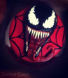 Venom Spider-Man cake 12th Birthday Cake, Bithday Cake, Birthday Cakes For Men, 6th Birthday Parties, Cakes For Boys, Man Birthday, Birthday Ideas, Doodle Cake, Party Themes For Boys