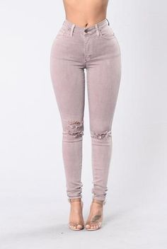 Available in Woodrose High Rise 5 Pocket Design Uneven Knee Slit Skinny Leg Made in U.A Rayon, Cotton, Polyester, Spandex Sexy Jeans, Super Skinny Jeans, Ripped Jeans, Jeans Pants, Leggings Are Not Pants, Outfit Jeans, Blue Jean Outfits, Pink Outfits, Shorts