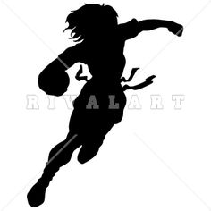Clipart Image Of A Woman Flag Football Player Silhouette
