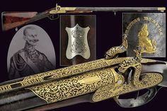 An elegant double-barrelled gun from the property of Charles Albert of Savoy (1798 - 1849)