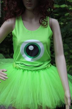 Ladies Womens Adult Monsters Inc  Halloween Costume Run Disney Tutu Top Girls #Disney #CompleteCostume
