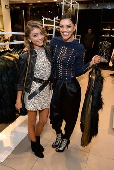 Sarah Hyland and Jessica Szohr attend the Balmain x H&M Los Angeles VIP Pre-Launch on November 4, 2015 in West Hollywood, California.