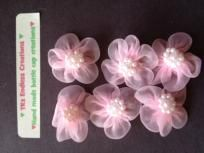 """$2.00 Hand sewn Organza Ribbon Sheer Flower with sewn on Pearls  Size: a little smaller than 1.25""""   Add them to your craft, sewing, dolls, hair bows, etc.   My home is smoke and pet free   Please check out my other items:   yardseller.com/com/yardsale/Trish..."""