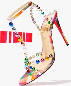 Christian Louboutin sandals in bauble-studded clear vinyl and patent leather Women's Shoes, Me Too Shoes, Shoe Boots, Stiletto Shoes, Stilettos, High Heels, Christian Louboutin Sandals, Louboutin Shoes, Pretty Shoes