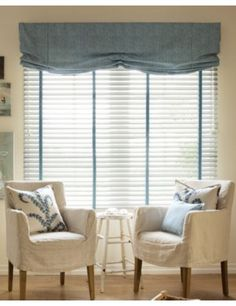 Wood #Blinds in 3347 Brilliant White with Ladder Tape in 14293 #Linen/ #Sky; Layered with Relaxed Roman Fabric Valances in 14983 Linear Leaves/ Ocean