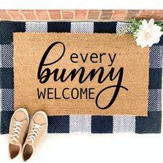 Welcome Door, Welcome Mats, Easter Decor, Easter Crafts, Porch Mat, Waterproof Paint, Personalized Door Mats, Hand Painted Canvas, Coir