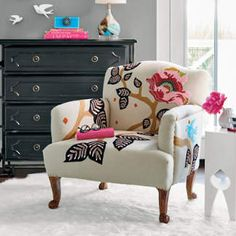 We're thinking good thoughts, because skilled artisans in India hand-embroider our exclusive Linnet Embroidered Armchair all over with bluebirds of happiness and trailing bursts of flora. Eames Chairs, Upholstered Chairs, Lounge Chairs, Dining Chairs, Chair Upholstery, Office Chairs, Dining Room, Retro Armchair, Modern Armchair