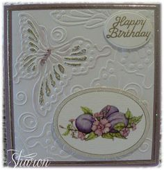 Butterfly Birthday Card Happy Birthday Sharon, Butterfly Birthday Cards, Cardmaking, Paper Crafts, Frame, How To Make, Blog, Picture Frame, Papercraft