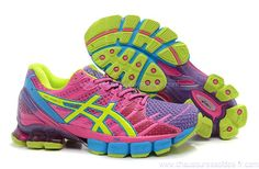 Image issue du site Web http://www.chaussuressoldes-fr.com/images/Gel-Kinsei-4/Chaussures-Running-Asics-Gel-Kinsei-4-Femme-Rose-Violet-Jaune.jpg