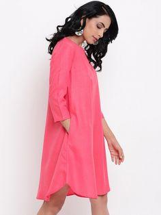 Pink Anti Fit Linen Cotton pocket Dress Embroidery On Kurtis, Kurti Embroidery Design, Linen Dresses, Cotton Dresses, Layered Kurta, Saree Dress, Party Wear, Dress To Impress, Designer Dresses