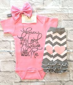 Baby Girl Clothes, Baby Girl Religious Onesies, I Know The Lord Is Always With Me Onesie, Religious Bodysuits, Religious Onesies, Baby Shower Gifts, Baby Girl Bodysuits, GOD Bodysuits - BellaPiccoli