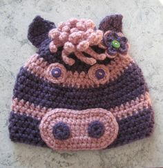 Crochet Pink and Purple Horse Hat with Flower (6-12 Months)