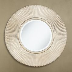 """Kasson Ribbed Champagne Silver 29 1/2"""" Round Wall Mirror"""