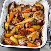 Try this delicious one-pot Sunday lunch recipe plus other recipes from Red Online One Pot Meals, Main Meals, Good Food, Yummy Food, Tasty, Cooking Recipes, Healthy Recipes, Lunch Recipes, One Pot Recipes