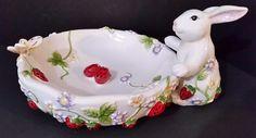 "Lg Bunny Rabbit Bowl - Astor Lane - Hand Painted Ceramic - 9 1/2"" - NW/OT"