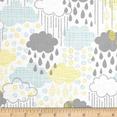 Another gender neutral fabric choice that would pull all of your colors together. Blown Away Rainy Day Blue