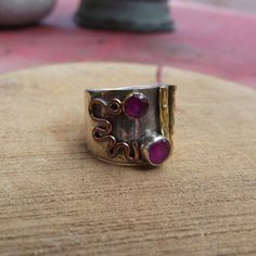 925 sterling silver ring with ruby stone with by silveringjewelry