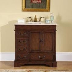 @Overstock - Riverbank bathroom single sink vanity will enhance any bathroomTraditional-style vanity features a Crema Marfil marble countertopBathroom vanity contains an undermount ivory ceramic sinkhttp://www.overstock.com/Home-Garden/Silkroad-Exclusive-Riverbank-Bathroom-Single-sink-Vanity/4457302/product.html?CID=214117 $811.99