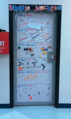 interactive word wall, simple machines, students bring in a sample of a simple machine, The student places the simple machine in its category. I could see this working with an over the door shoe organizer too! Science Words, Stem Science, Science Lessons, Science For Kids, Weird Science, Kindergarten Science, Elementary Science, Science Education, Primary Science