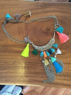 """""""Feathered"""" necklace, tassels...turquoise & colour – Eyre Imports"""