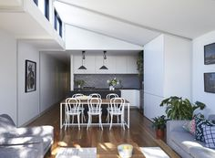 A Boundary to Boundary Row House in Elsternwick Granny Flat Plans, Patio Roof Covers, Pergola On The Roof, White Pergola, Pergola Shade, Narrow House Plans, Small Tiny House, Tiny Houses, Steel Frame House