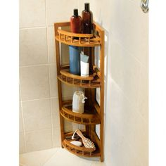 Bathroom Corner Cabinet Appealing Bamboo Corner Shower Caddy For Bathroom Accessories And Decorating Bathroom Shower Ideas Corner Shower Caddy, Hanging Shower Caddy, Shower Storage, Shower Shelves, Bathroom Storage, Bathroom Corner Cabinet, Open Bathroom, Bathroom Stuff, Basement Bathroom