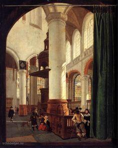 """Painting """"Interieur van de Oude Kerk, Delft, met de preekstoel van 1548"""" by Gerard Houckgeest - www.schilderijen.nu"""