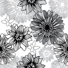 Vector background with hand drawn flowers. (Seamless Pattern) — Stock Illustration #11061985