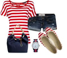 """""""Red Stripes for Summer"""" by elenh2005 on Polyvore"""