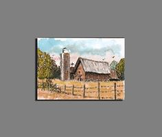 ACEO Miniature Watercolor & Ink Impressionism Barn by barrysart