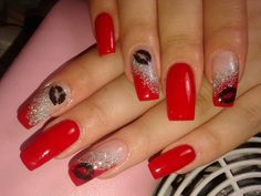 red nails with nail art - Google Search