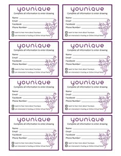Younique Raffle Tickets for events created by Janet Saywers for Presenters. #younique #drawing #raffletickets #events #free #lipgloss #3dfiberlashes #mineralpigment #eyeliner #lipliner #approved www.FabuliciousLashes.com