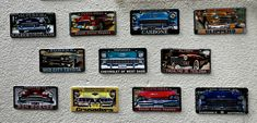 Wall of American cars. Car numbers on the wall. Irish Pub Interior, Bar Interior, Interior And Exterior, Wall Bar, Siena, Rock N Roll, Exterior Design, Numbers, Cars