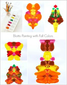 Process Art Project for Kids: Fall Colored Blotto Paintings- Super easy autumn craft for preschool, kindergarten and on up! ~ BuggyandBuddy.com