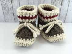Sock Monkey with Red Stripe BABY Toddler Child Crochet SHEEPSKIN Booties Slippers with Light Tan Leather Suede and Sheepskin Shearling Sole