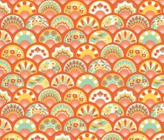 Art Deco Flapper Fans - Sunshine fabric by tuppencehapenny on Spoonflower - custom fabric