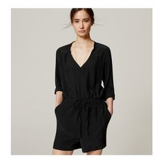 LOFT Long Sleeve Romper (56 JOD) ❤ liked on Polyvore featuring jumpsuits, rompers, black, long sleeve romper, long sleeve rompers, playsuit romper, long-sleeve rompers and v neck romper