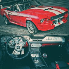 """#Ford Eleanor Mustang 1967 :@arete_motorsports The Father:@SamSargis and son:@mike_agazaryan project built and restored from ground 1. Custom """"Red Rocket"""" paint job with a Carol Shelby Autographed Dashboard! #cars"""
