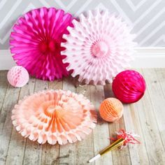 Honeycomb fans and other party supplies. Pretty colors.