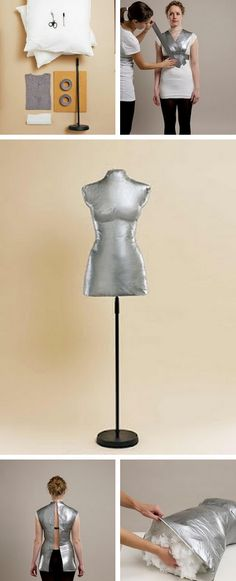 "A custom ""made to fit"" dress form of your very own! How brilliant! I had heard of this-must make one some time! Great little tutorial! @ Do It Yourself Remodeling Ideas"