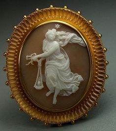 """Cameo of  Vesta - Sardonyx Shell, 15k gold tested. The brooch 1⅞"""" by 1⅝""""; the cameo alone is 1⅜"""" by 1⅛"""". Circa 1860 Italy. Go to the original site to read a great history of Vesta & a very detailed description of this beautiful cameo!    $3,000.00."""