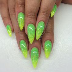 Glitterombre i gul och grön