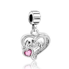 Mother Daughter Charms Rose Pink October Birthstone Heart Mom Dangle Er Beads Pandora Chamilia Compatible