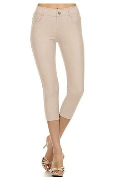 Comfortable and Stretch Solid Color Capri Jeggings (Camel) – Niobe Clothing